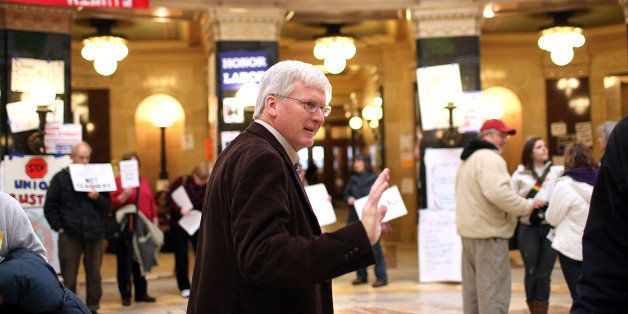 MADISON, WI - MARCH 04:  Republican Wisconsin State Senator Glenn Grothman waves as he walks through the Wisconsin State Capi