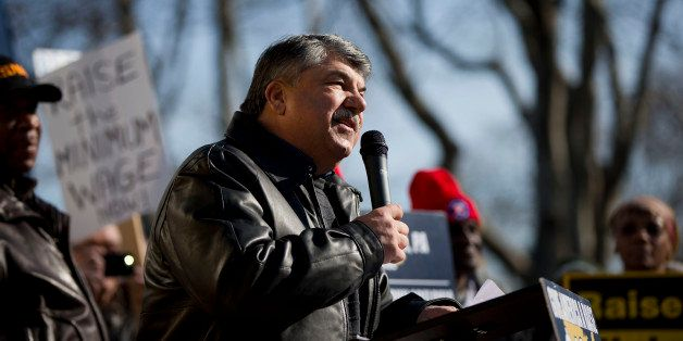 AFL-CIO President Richard Trumka speaks at a news conference Thursday, March 27, 2014, in Philadelphia.  Americans United for
