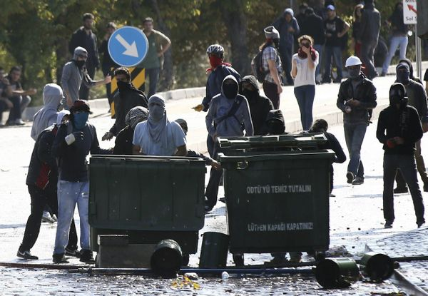 Demonstrators clash with riot police outside of the Middle Eastern Technical University (METU) in Ankara.
