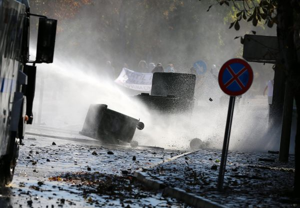 Students of Middle East Technical University and riot police clash in Ankara, Turkey.