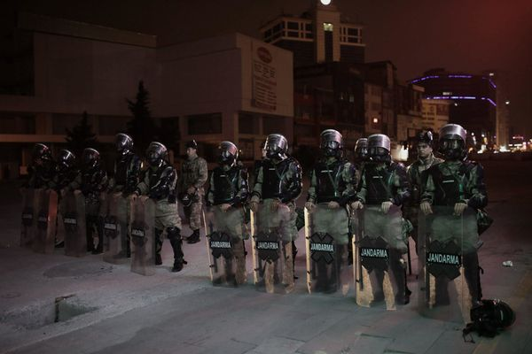 Riot police on the streets of Istanbul.