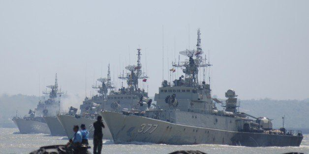 SURABAYA, INDONESIA - SEPTEMBER 25: Indonesia warships perform Sailing Pass during the preparation for the anniversary of Ind