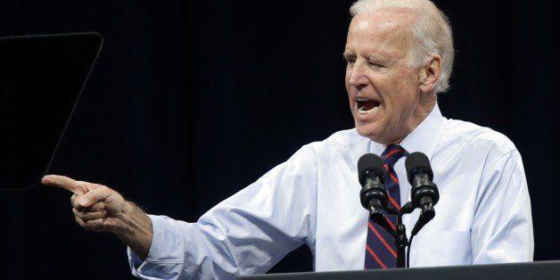 Vice President Joe Biden speaks during a campaign rally for  U.S. Sen. Jeff Merkley in Portland, Ore., Wednesday, Oct. 8, 201
