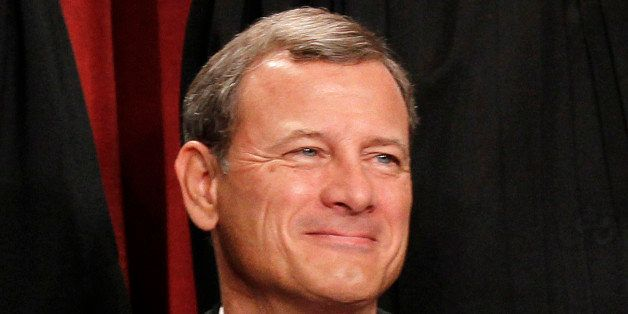 FILE - In this Oct. 8, 2010 file photo, Chief Justice John G. Roberts is seen during the group portrait at the Supreme Court