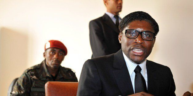 A picture taken on January 24, 2012 shows Teodoro (aka Teodorin) Nguema Obiang Mangue, (R), son of the Equatorial Guinea's Pr
