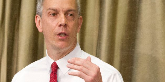 FILE - This April 10, 2014 file photo shows Education Secretary Arne Duncan speaking in New York. Fifty-five colleges and uni