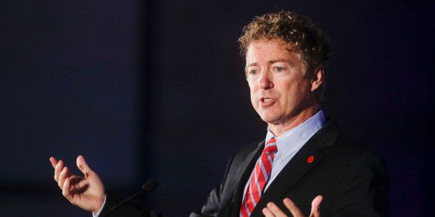 Sen. Rand Paul (R-Ky.) speaks at the California GOP convention on Saturday, Sept. 20, 2014, in Los Angeles. Paul has sought a