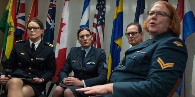 (From L to R), transgenders Major Alexandra Larsson of the Swedish Armed Forces, Sergeant Lucy Jordan of the New Zealand Air