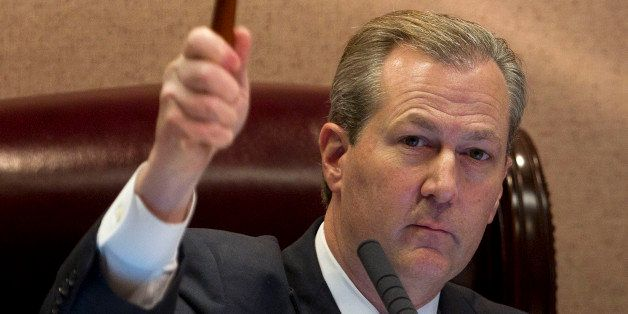 Alabama Speaker of the House Mike Hubbard, R-Auburn gavels in the regular session of the House of Representatives at the Alab