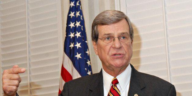 UNITED STATES - NOVEMBER 26:  Trent Lott, Republican U.S. senator of Mississippi, announces his retirement from the U.S. Sena