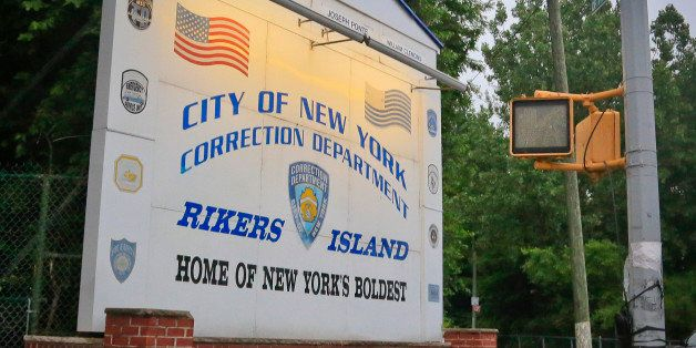 This photo taken on Wednesday June 11, 2014, shows the main sign for the Rikers Island jail in the Queens borough of New York