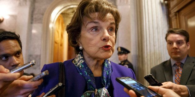 FILE - This March 11, 2014 file photo shows Senate Intelligence Committee Chair Sen. Dianne Feinstein, D-Calif. speaking to r