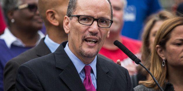 NEW YORK, NY - SEPTEMBER 30:  Department of Labor Secretary Tom Perez speaks at a press conference before New York City Mayor