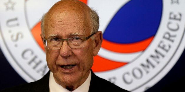 Republican U.S. Sen. Pat Roberts speaks after being endorsed the the U.S. Chamber of Commerce, Monday, Oct. 6, 2014, in Topek