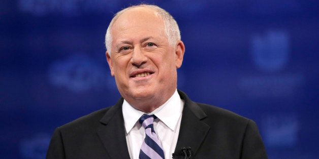 Democratic Gov. Pat Quinn, waits on stage for a third and likely final debate against Republican challenger Bruce Rauner, bef