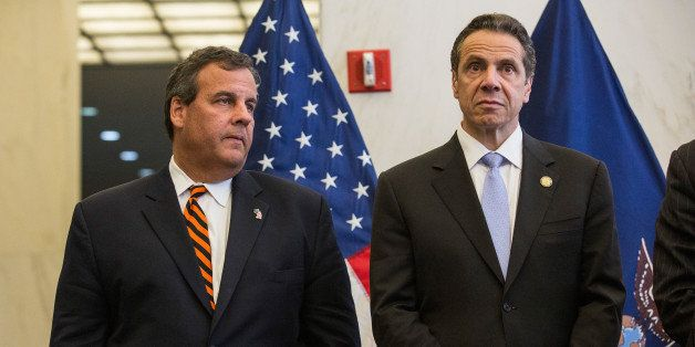 NEW YORK, NY - SEPTEMBER 15:  New Jersey Governor Chris Christie and New York Governor Andrew Cuomo stand side by side during