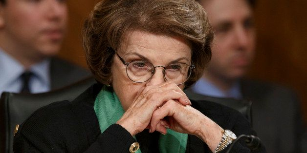 File- This March 13, 2014, file photo shows Senate Intelligence Committee Chair Sen. Dianne Feinstein, D-Calif., listening  o