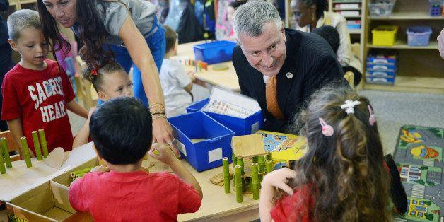 Mayor Bill de Blasio visits a prekindergarten class on Thursday, Sept. 4, 2014 at the Sacred Heart School in the Staten Islan