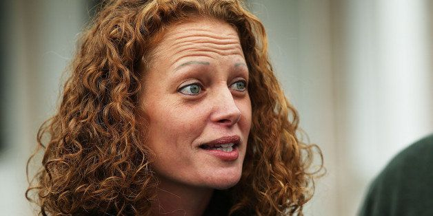 FORT KENT, ME - OCTOBER 31:  Kaci Hickox gives a statement to the media in front of her home on October 31, 2014 in Fort Kent