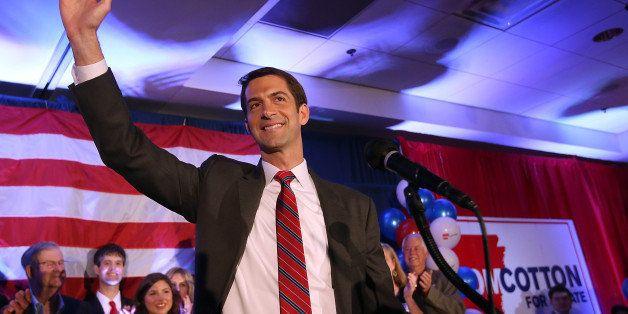 NORTH LITTLE ROCK, AR - NOVEMBER 04:  U.S. Rep. Tom Cotton (R-AR) and republican U.S. Senate elect in Arkansas greets support
