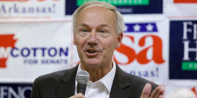 Republican candidate for Arkansas governor Asa Hutchinson speaks at a political rally in Little Rock, Ark., Wednesday, Oct.29