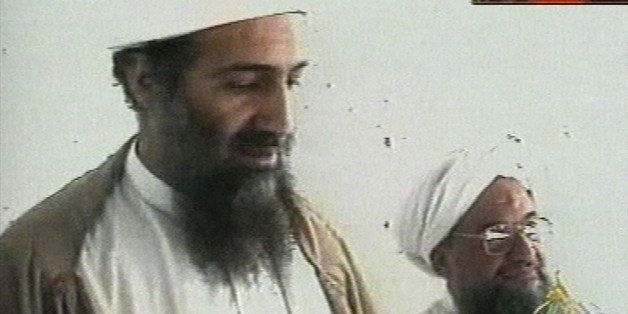 This image taken from video released by Qatar's Al-Jazeera televison broadcast on Friday Oct. 5, 2001 is said to show Osama b