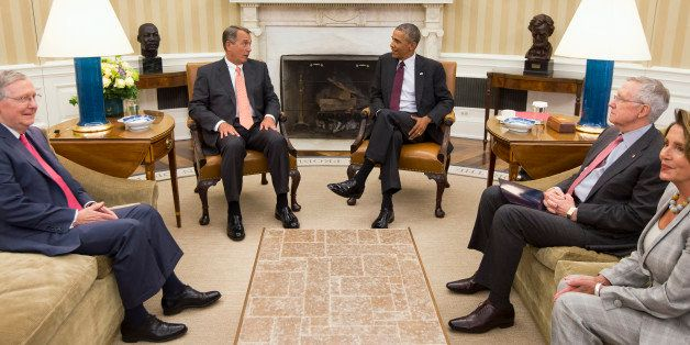President Barack Obama meets with Congressional leaders in the Oval Office of the White House in Washington, Tuesday, Sept. 9