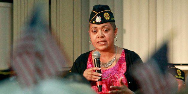 Veterans Affairs Rehabilitation Director Verna Jones speaks during a town hall meeting at American Legion Post 1 on Monday, J