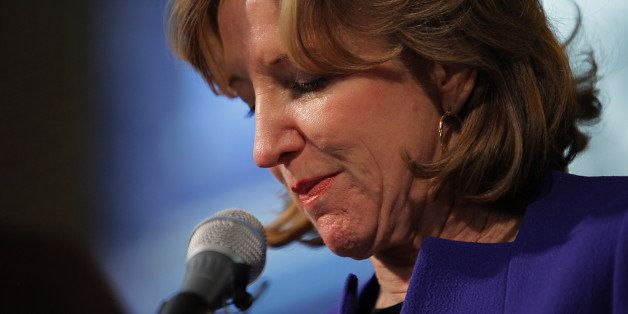 GREENSBORO, NC - NOVEMBER 4:   Sen. Kay Hagan (D-N.C.) concedes the Senate race in North Carolina to Republican Thom Tillis