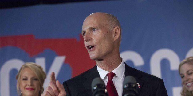 BONITA SPRINGS, FL - NOVEMBER 4:   Florida Rep. Gov. Rick Scott gives his victory speech November 4, 2014 in Bonita Springs,