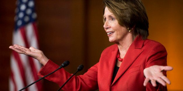 UNITED STATES - MAY 1: House Minority Leader Nancy Pelosi, D-Calif., holds her weekly on camera news conference in the Capito
