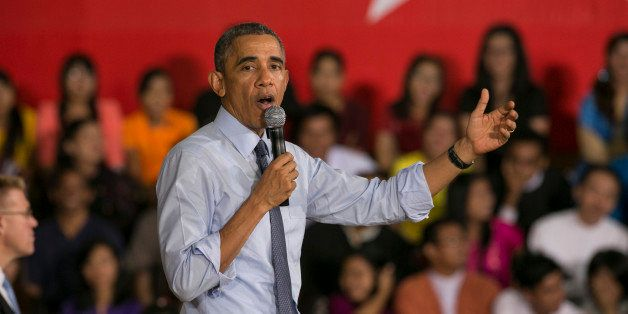 YANGON, BURMA - NOVEMBER 14: U.S President Barak Obama speaks to students after a Young Southeast Asian Leaders Initiative (Y