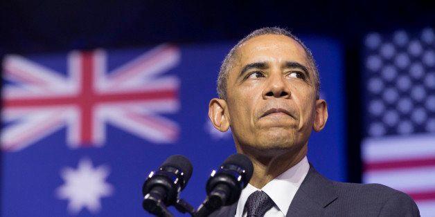 U.S. President Barack Obama speaks at the University of Queensland, Saturday, Nov. 15, 2014 in Brisbane, Australia. (AP Photo