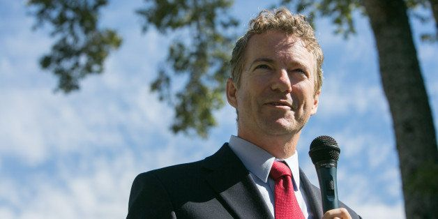 MCDONOUGH, GA - OCTOBER 24:  Sen. Rand Paul (R-KY) speaks to an audience of supporters of Georgia Senate candidate David Perd
