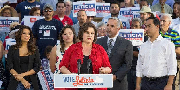 SAN ANTONIO, TX - OCTOBER 22:  State Senator Leticia van de Putte, candidate for Lieutenant Governor of Texas speaks as (L-R)