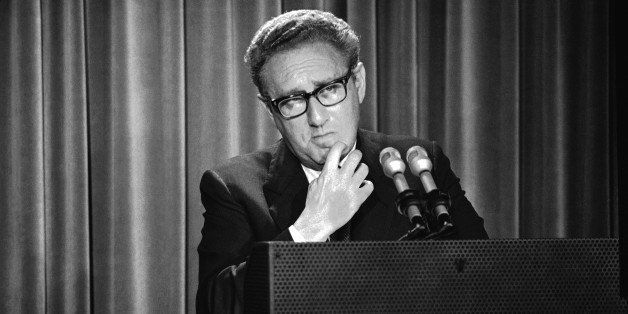 In this Thursday, May 3, 1973 photo, Henry Kissinger, President Nixon's foreign affairs adviser, briefs newsmen on Nixon's an