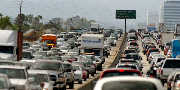 UNITED STATES - MAY 18:  Commuters clog a freeway on Friday, May 18, 2007, in Los Angeles, California.  (Photo by Jamie Recto