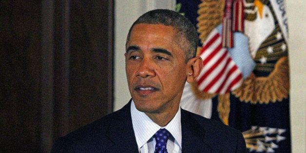 WASHINGTON, UNITED STATES - NOVEMBER 26: U.S. President Barack Obama is seen after he pardoned two turkeys named 'Mac' and 'C