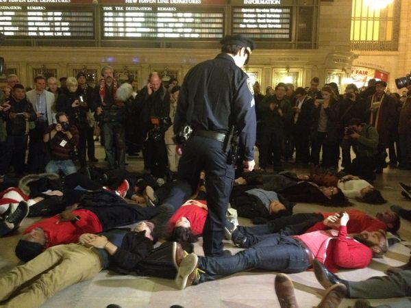 Protesters gather in Grand Central in New York.