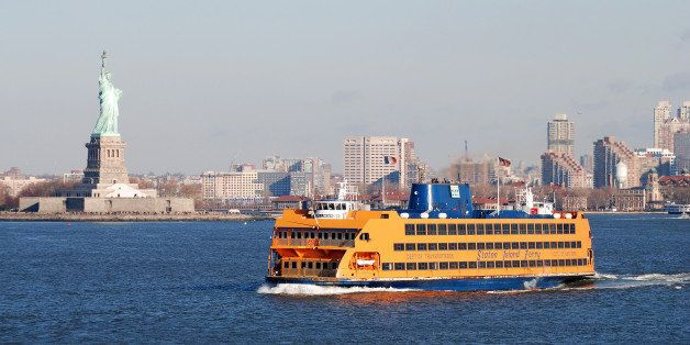 [UNVERIFIED CONTENT] The Staten Island Ferry passes the Statue of Liberty in New York.