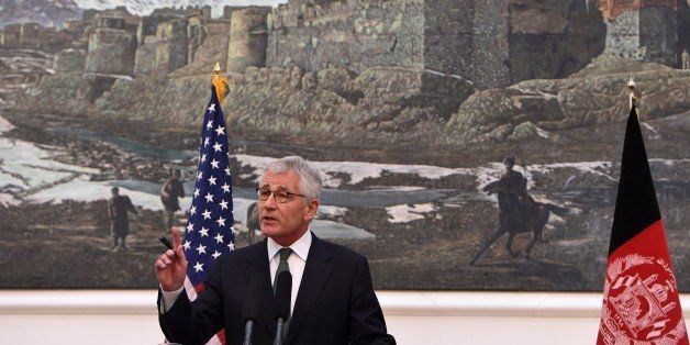 US Secretary of Defense Chuck Hagel speaks during a joint press conference with Afghan President Ashraf Ghani at the Presiden