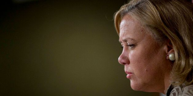 Senator Mary Landrieu, a Democrat from Louisiana, listens during a news conference at the U.S. Capitol in Washington, D.C., U