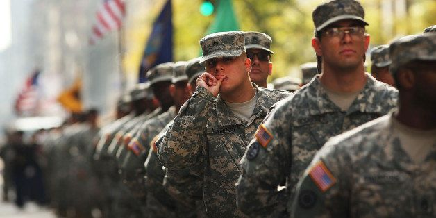 NEW YORK, NY - NOVEMBER 11: Soldiers with the U.S. Army march in the annual Veteran's Day Parade along Fifth Avenue on Novemb