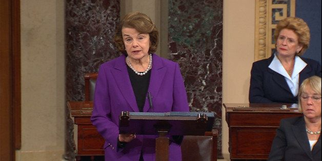 This frame grab from video, provided by Senate Television, shows Senate Intelligence Committee Chair Sen. Dianne Feinstein, D