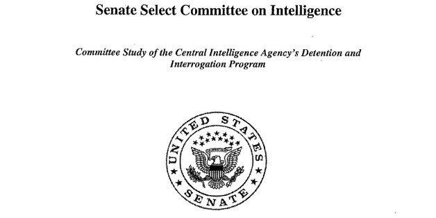 This is a copy of the cover of the CIA torture report released by Senate Intelligence Committee Chair Sen. Dianne Feinstein D