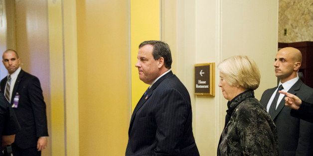 UNITED STATES - NOVEMBER17: Gov. Chris Christie, R-N.J., is escorted by Chairman of the Committee on House Administration Can