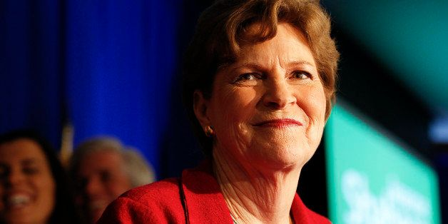 Incumbent U.S. Sen. Jeanne Shaheen, D-N.H., celebrates after winning her election over Republican Scott Brown on Tuesday, Oct