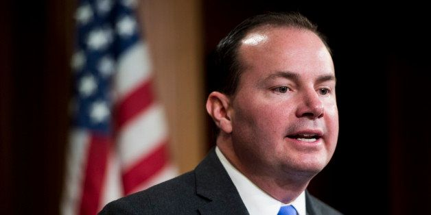 UNITED STATES - MARCH 26: Sen. Mike Lee, R-Utah, speaks during a news conference on Wednesday, March 26, 2014, on legislation