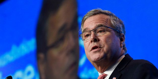 FILE - In this Nov. 20, 2014, file photo, former Florida Gov. Jeb Bush gives the keynote address at the National Summit on Ed