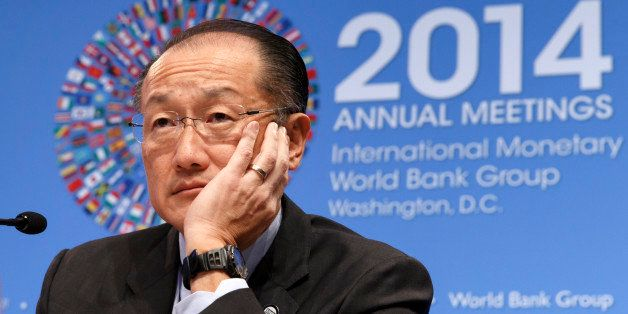 World Bank President Jim Yong Kim holds a news conference at International Monetary Fund headquarters in Washington, Thursday